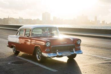 Classic car with sun